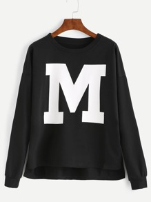 Black Letter Print Drop Shoulder Dip Hem Sweatshirt