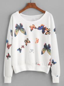 White Butterfly Print Drop Shoulder Sweatshirt