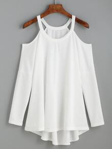 White Cold Shoulder High Low Knit T-shirt