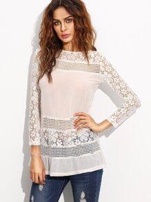 White Crochet Insert Hollow Out Zipper Back Blouse