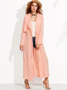 Pink Drape Collar Layered Drawstring Duster Coat With Gun Flap
