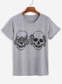 Grey Skull Print Short Sleeve T-shirt