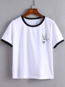 White Contrast Trim Love Gesture Print T-shirt