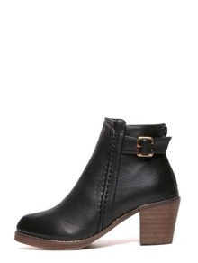 Black Faux Leather Buckle Back Zipper Cork Heeled Boots