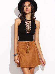 Camel Faux Suede Tassel Tie A-Line Skirt