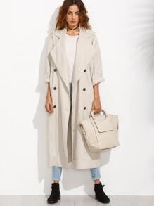 Apricot Lapel Button Long Sleeve Outerwear
