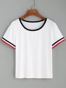 White Striped Cuff Short Sleeve T-shirt