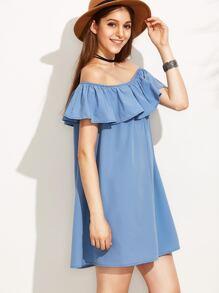 Blue Off The Shoulder Ruffle Dress