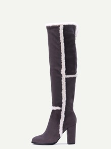 Grey Faux Suede Point Toe Knee High Boots