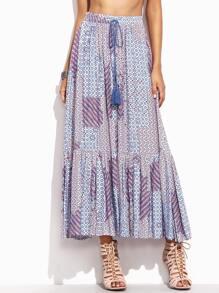 Multicolor Ruffle Hem Long Skirt