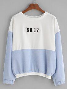Color Block Number Patch Drop Shoulder Sweatshirt
