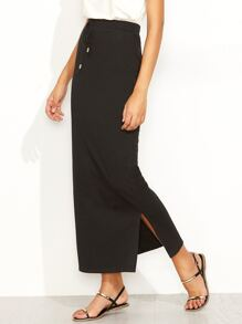 Black Drawstring Waist Slit Straight Skirt