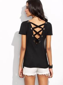 Black Lace Up Back Metal Eyelet T-shirt