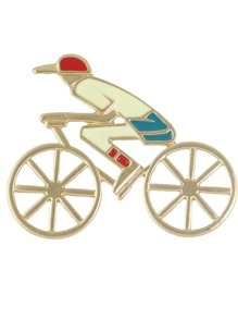 Cute Enamel Human Riding Bike Shape Big Brooch