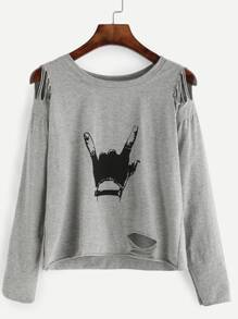Grey Gesture Print Distressed T-shirt