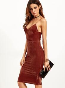 Brick Red Velvet Cami Pencil Dress