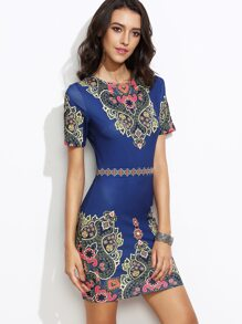 Blue Ornate Print Sheath Dress