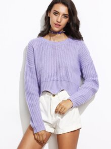 Purple Drop Shoulder Scallop Hem Crop Sweater