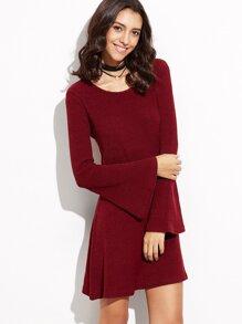 Burgundy Bell Sleeve Ribbed Dress