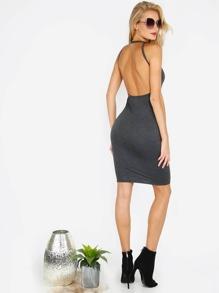 Black Open Back Sleeveless Bodycon Dress