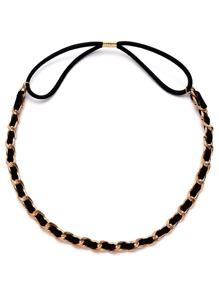 Curb Chain With Faux Suede Hair Chain