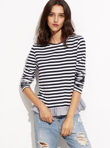 Navy And White Striped T-shirt With Ruffle Trim
