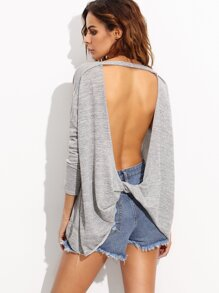 Heather Grey Drop Shoulder Backless Twist T-shirt