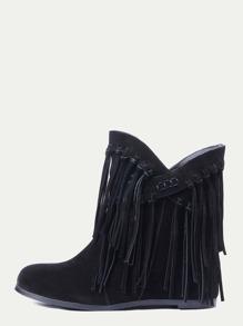 Black Nubuck Leather Fringe Tassel Hidden Heel Boots