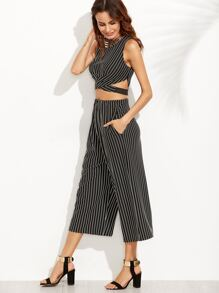 Vertical Striped Zipper Top With Wide Leg Pants