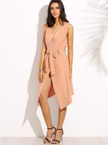 Pink V Neck Tie Waist Asymmetrical Sleeveless Outerwear