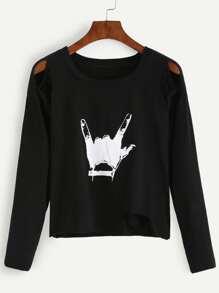 Black Gesture Print Cut Out Crop T-shirt