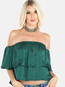 Bardot Cap Sleeve Crop Top HUNTER GREEN