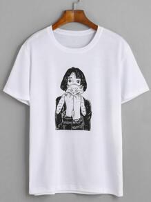 White Girl Holding Cat Print T-shirt