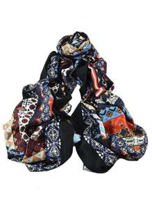 Blue New Arrival Printed Cotton Soft Wide Scarf For Ladies