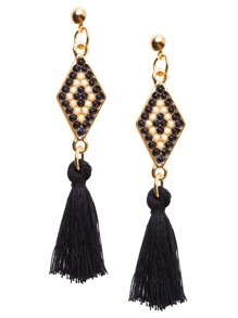 Black Tassel Geometric Beaded Drop Earrings