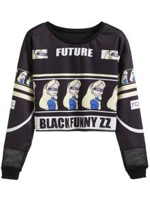 Black Cartoon And Letter Print Sweatshirt