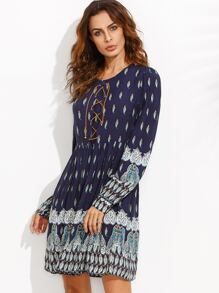 Tribal Print Lace Up Front Long Sleeve Dress