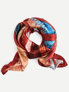 Red Oil Painting Print Square Scarf