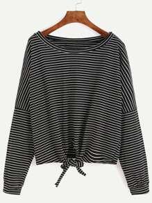 Black Striped Drop Shoulder Tie Front T-shirt
