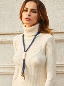 Blue Faux Leather Tassel Metal Trim Sweater Necklace