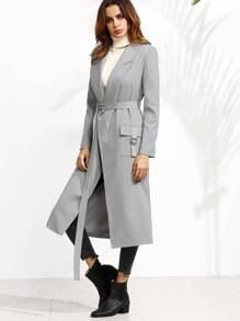 Grey Belted Duster Coat With Buckled Flap Pockets
