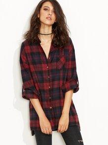 Burgundy Plaid Roll Tab Sleeve Slit Side Dip Hem Shirt