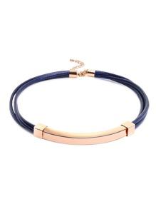 Blue Simple Handmade Pu Metal Necklace