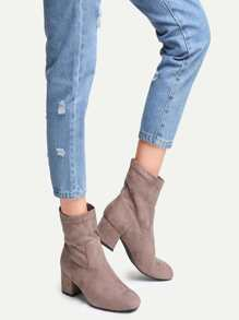 Brown Faux Suede Point Toe Chunky Heel Boots