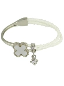 White Rhinestone Braided Pu Leather Chain Link Bracelet