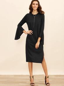 Black Bell Sleeve Split Hem Tee Dress