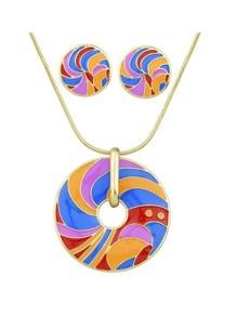 Orange Striped Pattern Necklace Earrings Set