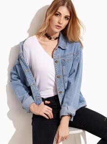 Stonewash Blue Denim Jacket With Pockets