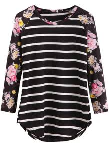 Black Striped Contrast Raglan Sleeve T-shirt