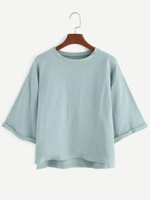 Drop Shoulder High Low Cuffed T-shirt